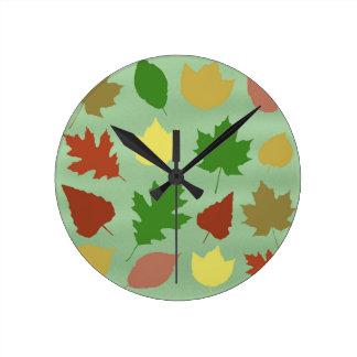 Horloge Ronde Feuille mélangé