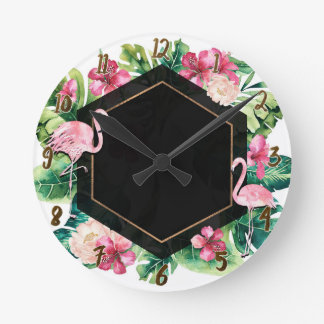 Horloge Ronde Feuille tropical et or noir de flamants chic