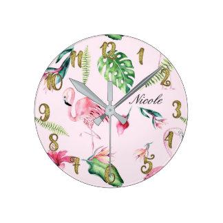 Horloge Ronde Flamant rose et feuille floral tropical faits sur