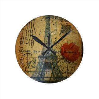 Horloge Ronde Fleur chic minable de pavot de Tour Eiffel de