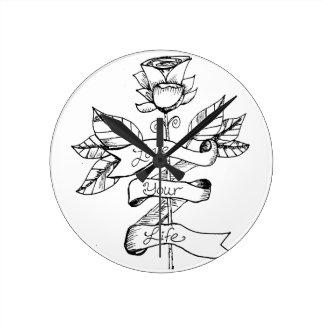 Horloge Ronde Fleur rose d'horloge