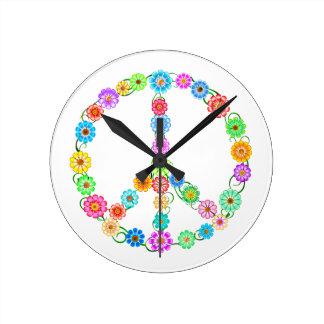 Horloge Ronde Fleurs de signe de paix