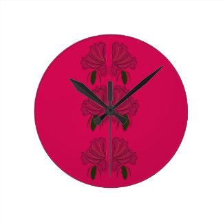 Horloge Ronde Fleurs roses de cru d'ethno