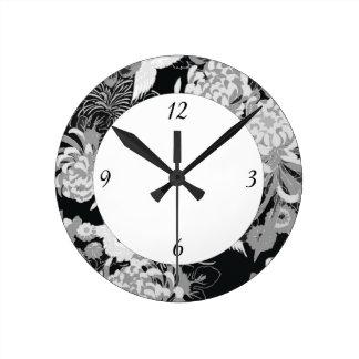 Horloge Ronde Fleurs vintages et oiseaux noirs, blancs et gris