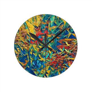 Horloge Ronde Forêt abstraite