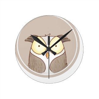 Horloge Ronde forêts portrait owl