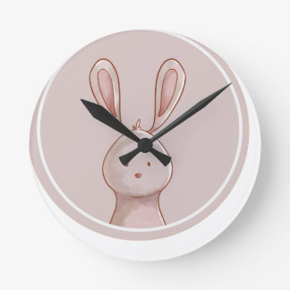Horloge Ronde forêts portrait rabbit
