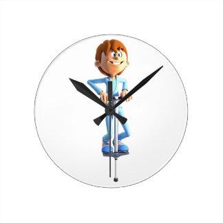 Horloge Ronde Garçon de bande dessinée sur un bâton de Pogo