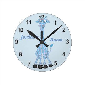 Horloge Ronde Girafe bleue mignonne de l'horloge de l'enfant