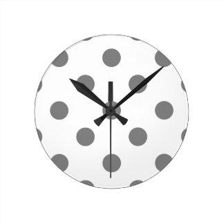 Horloge Ronde Grand pois - gris sur le blanc
