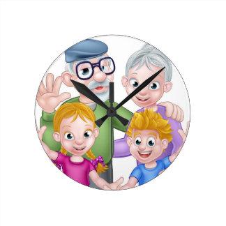 Horloge Ronde Grands-parents et petits-enfants de bande dessinée