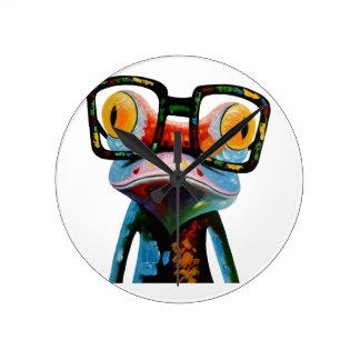 Horloge Ronde Grenouille en verre de hippie