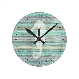 Horloge Ronde Hippocampe côtier rustique de décor