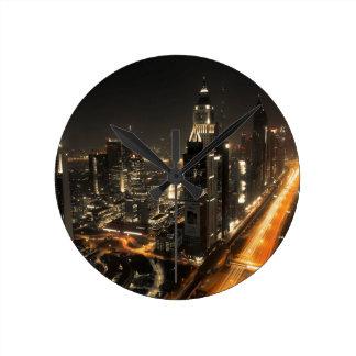 Horloge Ronde Horizon de nuit de Dubaï