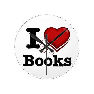 Horloge Ronde I livres de coeur ! J'aime des livres ! (Coeur