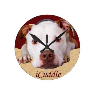 Horloge Ronde iCuddle Pitbull
