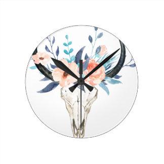 Horloge Ronde Illustration florale rose de crâne de taureau