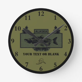 Horloge Ronde Insigne modéré de pêcheur de combat de l'Alaska
