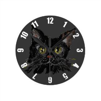 Horloge Ronde JASPE - votre chat noir de HALLOWEEN