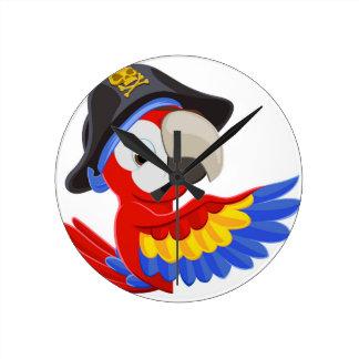 Horloge Ronde Jeter un coup d'oeil le perroquet de pirate de