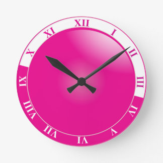 Horloge Ronde Joli chiffre romain de rose indien et blanc