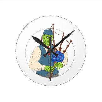 Horloge Ronde Joueur de pipeau de zombi jouant l'art de crasse
