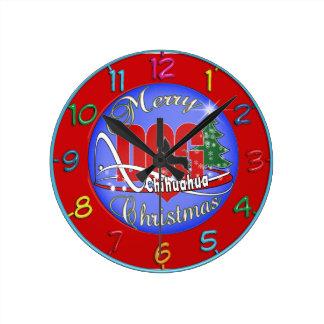 Horloge Ronde Joyeux Noël de chiwawa
