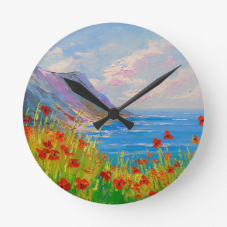 Horloge Ronde La mer et les pavots