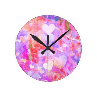 Horloge Ronde L'amour, Valentine, jour, coeur, femmes, rose,