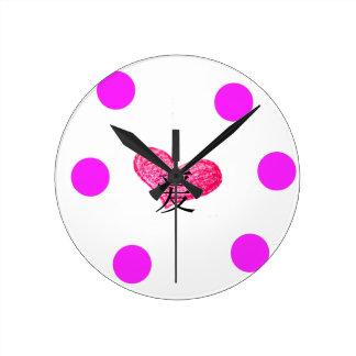 Horloge Ronde Langue chinoise de conception d'amour
