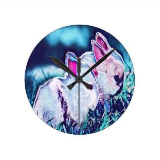 Horloge Ronde Lapins nains de nuit