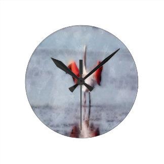 Horloge Ronde Le flamant rose dans l'aquarelle