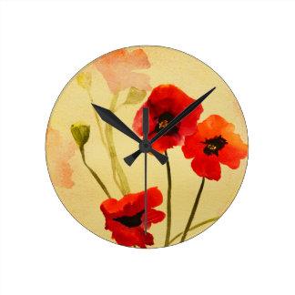 Horloge Ronde Le pavot ombrage l'horloge d'art