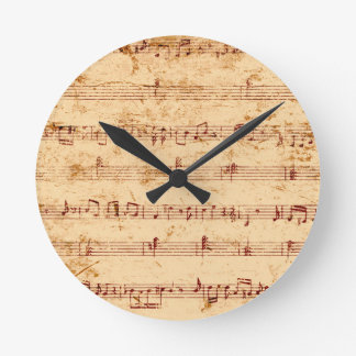 Horloge Ronde Le piano grunge note la feuille de musique