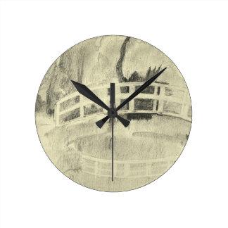 Horloge Ronde Le pont japonais de Monet noir et blanc