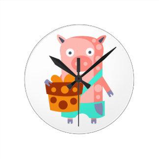 Horloge Ronde Le porc avec la partie attribue génial stylisé