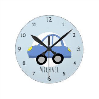 Horloge Ronde Les bébés gribouillent la crèche bleue de véhicule