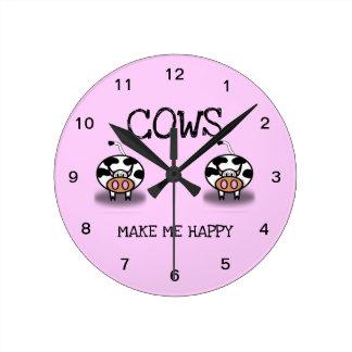 Horloge Ronde Les vaches me rendent heureux