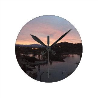 Horloge Ronde Lever de soleil latéral de piscine