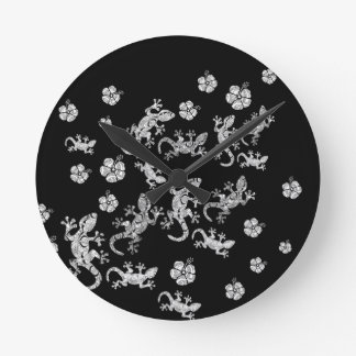 Horloge Ronde Lézards fleuris
