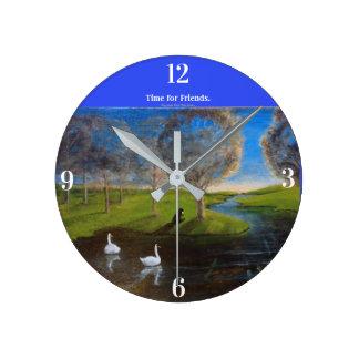 Horloge Ronde L'horloge animale des enfants avec le castor, le