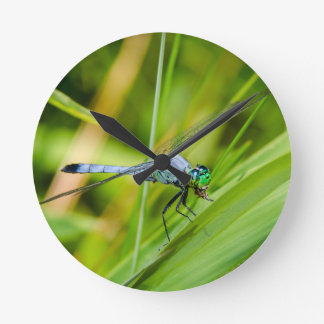 Horloge Ronde Libellule bleue sur une lame