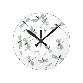 Horloge Ronde libellules au soleil