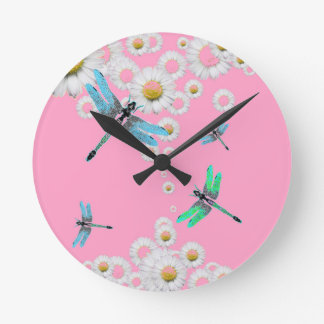 Horloge Ronde libellules bleues et roses roses