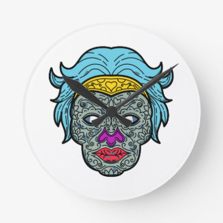 Horloge Ronde Ligne mono de Calavera de crâne femelle de sucre