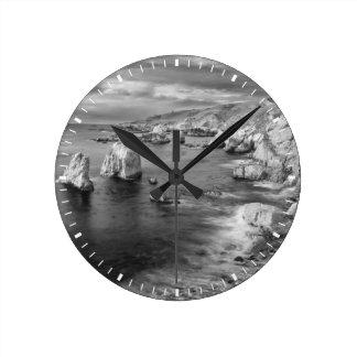 Horloge Ronde Littoral de plage de B&W, la Californie