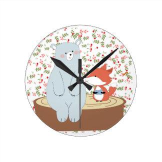 Horloge Ronde Loup mignon vintage de renard d'été de ressort et