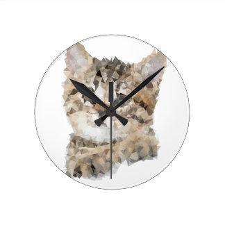 Horloge Ronde Low poly chaton
