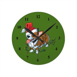 Horloge Ronde Lumières de Noël de Noël de chiot de corgi de