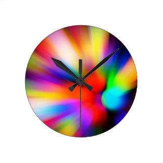 Horloge Ronde Lumières multi brouillées de couleur